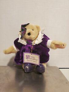 "MUFFY VANDERBEAR MUSICAL SOIREE  - 8"" teddy bear wears cute velvet dress"