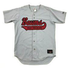Vintage Rawlings Baseball Jersey Baum's Sporting Goods Size 44 Xl Grey Throwback