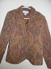 ERIN LONDON Women's Paisley Print Tapestry Button Front Blazer Jacket, Sz Small
