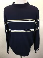 S13 Vtg Lacoste XL Made In France Navy Blue Stripe Crewneck Sweater Croc Logo