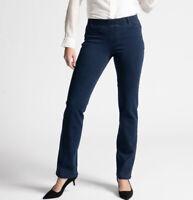 Betabrand Size M Petite Straight Leg Denim Mid Rise Yoga Pants Indigo Dark Wash