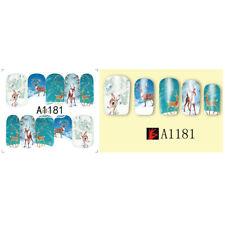 Nail Art Water Decals Stickers Christmas Winter Wonderland Bambi Reindeer A1181