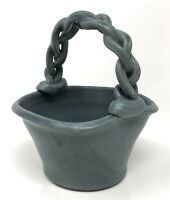 Studio Art Pottery Small Speckled Blue Basket w/ Braided Handle Artist Signed