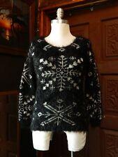 FINN & CLOVER Womens Feathery Black Snow Flake Print Round Neck Sweater Size M