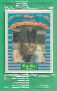 1991 Kelloggs Baseball Greats ~ Unopened Pack ~ Willie Mays on Top