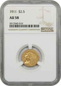 1911 $2 1/2 NGC AU58 - 2.50 Indian Gold Coin