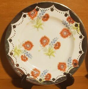 """Anthropologie Red & Blue Floral Design, Silver Rim Dessert plate, 8"""", Excellent"""
