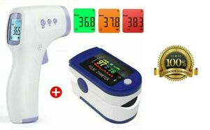 Fingertip Pulse Oximeter Blood Oxygen Saturation + Infrared Thermometer Combo