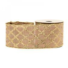 Luxury Christmas Natural Gold Glitter Cotton Fabric Hessian Ribbon - 1m length