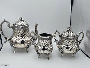 "3 Piece Gallia Metal Tea Set - Marked ""Gallia Metal"" Christofle ?"
