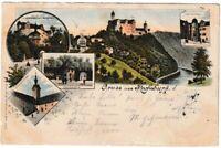 AK Rochsburg - Treppenhaus/Torhaus/Pulverturm/Eingang ins Schloss - Litho 1897