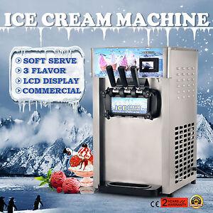 3 Flavor Commercial Yogurt Soft Serve Cones Ice Cream Maker Machine