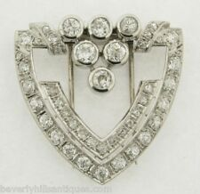 Five Plus Carats Diamonds Marked Platinum Signed Antique Art Deco Brooch Clip
