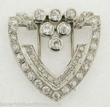 Five Plus Carats Diamonds Marked Platinum Signed Antique Art Deco Brooch Clip