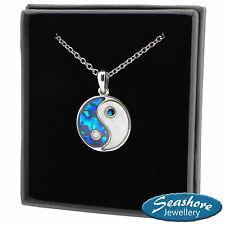 """Yin Yang Necklace Paua Abalone Shell Pendant Womens Silver Fashion Jewellery 18"""""""