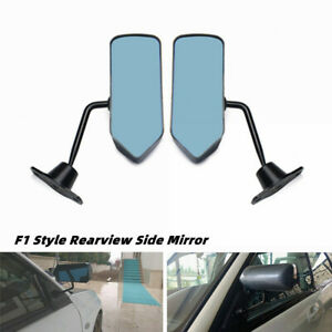 Universal 2PCS F1 Style Carbon Fiber Look Blue Rearview Mirror For Car Both Side