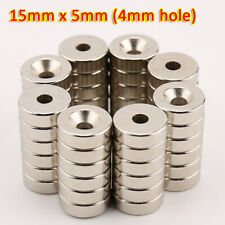 15mm X 5mm 4mm Hole Rare Earth Diy Strong Ring Neo Neodymium Disc Round Magnet