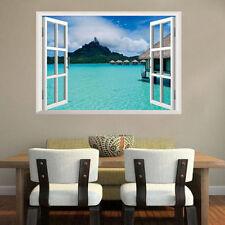 Tropical Beach Ocean Resort Mountain Hut 3D Window View Removable Wall Sticker