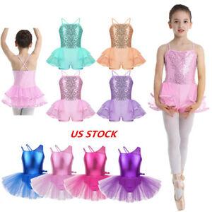 US Kids Ballerina Costume Girls Ballet Sequins Dance Leotard Tutu Dress Costume