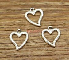 30 Open Hollow Heart Charms Connector Valentine Charms Antique Silver 15x18 2732