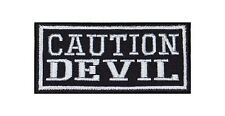 Caution Devil Biker Heavy Rocker Patch Aufnäher Kutte Bügelbild Motorrad Badge