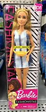 Barbie Fashionistas 2019 DENIM TANK DRESS BLONDE HAIR DOLL #108 Tall NEW
