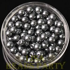 New 30pcs 8mm Round Glass Pearl Loose Spacer Beads Jewelry Making Deep Gray
