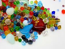 50g Mixed Colour & Shape Glass Bead Mix 4mm - 8mm Round Bicone Teardrop E194