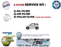 FOR TOYOTA iQ 1.0i 2008->NEW OIL AIR POLLEN 3 FILTER SET SERVICE KIT EO QUALITY