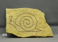 Snail Rock Art Pictograph Etching Carving Limestone Garden Art Nature Branded