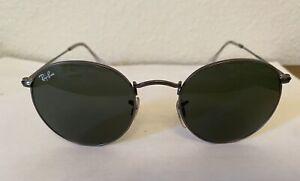 RAY BAN RB3447 Sunglasses ROUND METAL 50-21, Classic Green Lens, Gunmetal Frame