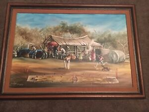 """Max Mannix Original Signed Painting """"At Lunch """""""
