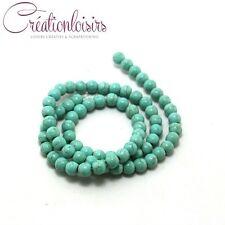 20 perles turquoise howlite  en pierre de diamètre 4 mm - Couleur à effet