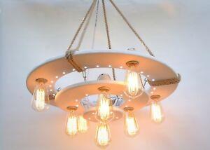 Wooden ceiling light with LED spots, nightlight chandelier, rustic fixtures