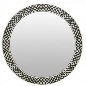 Maaya Round Bone Inlay Mirror Frame - Fish Scale 75x5x75cm (MADE TO ORDER)