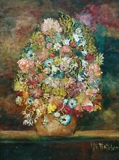 Beautiful Mid Century Oil on Canvas of Flowers in a Vase Signed M. Hatcher
