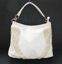 NEW-DS WHITE LEATHERETTE+CRYSTAL STUDS+GOLD TOTE,PURSE,BAG