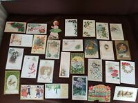 Lot of 28 Vintage Holiday Greetings Postcards Christmas Valentine Thanksgiving