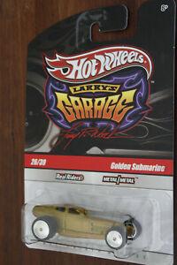 "Hotwheels Golden Submarine Larrys Garage 1/64 scale diecast model 3"" real riders"