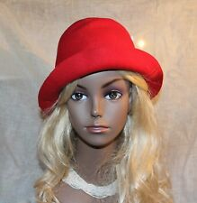 Vtg Antique Roaring 20s-30s Red Wool Felt Cloche Hat Flapper 22 3/8""