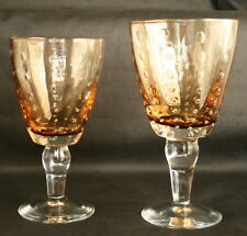 2 GORGEOUS Controlled Bubble Topaz Amber Water Goblets Wine Glasses