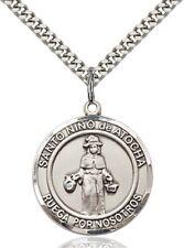 Sterling Silver Round Catholic Saint Nino De Atocha Medal Pendant, 1 Inch
