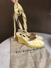 Burberry Yellow White Floral Canvas Wedge Lace Up Sandals Size 38 US 7.5-8 New