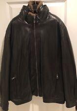 Men's Andrew Marc Genuine Leather Jacket With Rabbit Fur Vest Insert