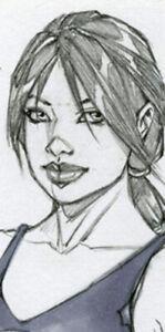 HOT PUNISHER GIRL SK#1384 FANTASY ORIGINAL PINUP GIRL ART by ALEX MIRANDA