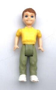Vintage Playskool Dollhouse BRUNETTE BOY Son Brother RARE! Yellow Shirt Green Pa