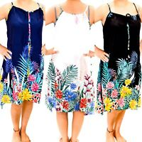 New Womens Boho Holiday Floral Ladies Summer Beach Midi Sun Dress Strap Sizes UK