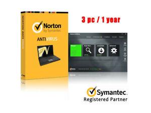 Norton Anti VIrus Symantec 3PC 1Year License Code Key with win 10 ready
