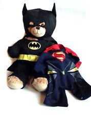 "BUILD A BEAR FACTORY DC Comics BATMAN SUPERMAN 15"" Plush Soft toy Hero CUTE!"