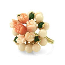 Coral Bead and Carved Flower Cluster Ring in 14K Yellow Gold  FJ
